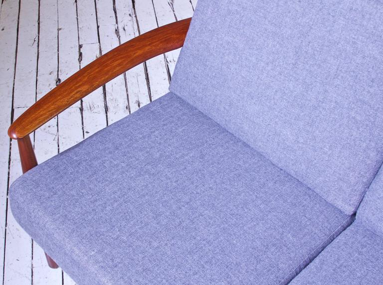 Vintage Grete Jalk Fd-118 Four-Seat Sofa in Teak and Grey Wool, 1960s For Sale 1