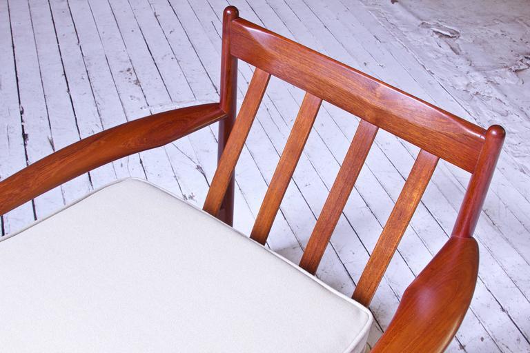 Vintage Grete Jalk Fd-118 Easy Chair in Teak and Beige Wool, 1960s For Sale 1