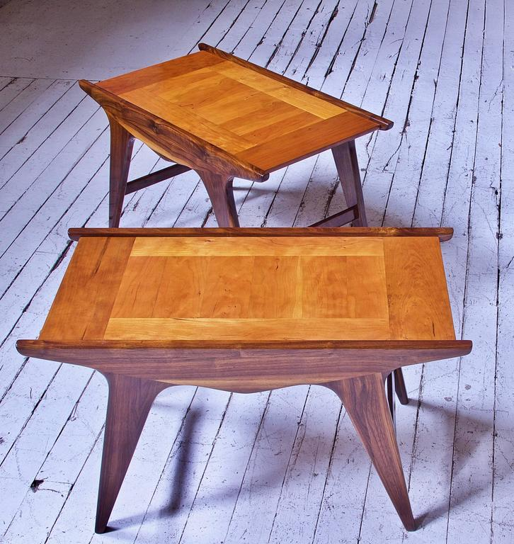 Woodwork Pair of 'Tavolinetto' End Tables by Angelo Montaperto in Walnut and Cherry, 2017 For Sale
