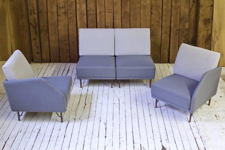 Danish Rarest Finn Juhl for Bovirke Two-Tone Wool & Rosewood Modular Sofa Set; 1953 For Sale
