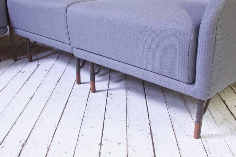 Steel Rarest Finn Juhl for Bovirke Two-Tone Wool & Rosewood Modular Sofa Set; 1953 For Sale