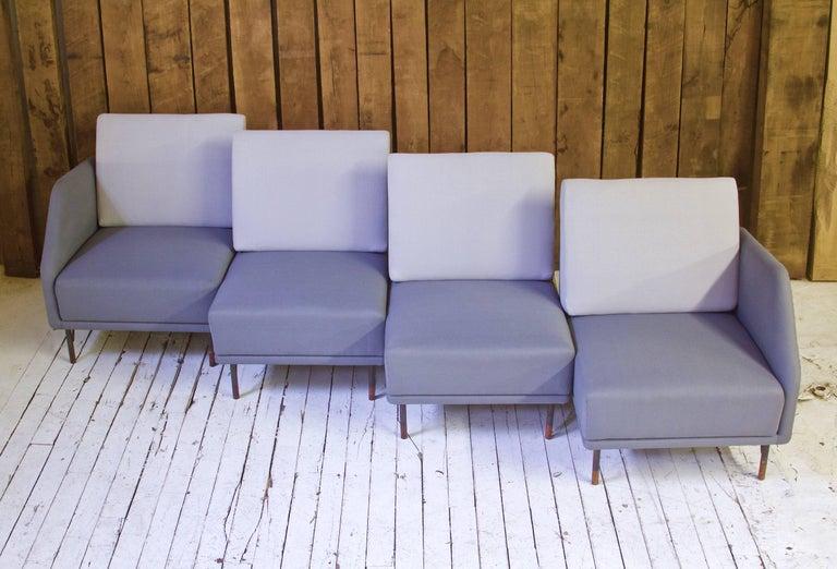 Metalwork Rarest Finn Juhl for Bovirke Two-Tone Wool & Rosewood Modular Sofa Set; 1953 For Sale