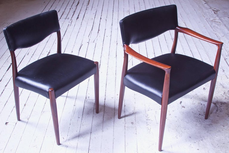 Faux Leather Set of Eight Teak Dining Chairs by Aksel Bender Madsen & Ejner Larsen, 1952 For Sale
