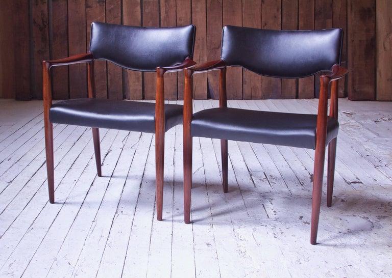 Scandinavian Modern Set of Eight Teak Dining Chairs by Aksel Bender Madsen & Ejner Larsen, 1952 For Sale