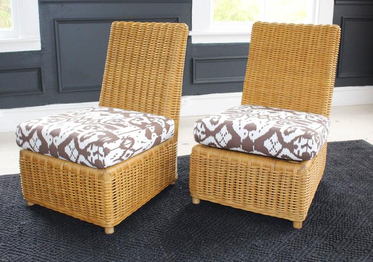 Ordinaire Pair Of 1980s Angelo Donghia Wicker Slipper Chairs With Matching Ottoman,  Each With Seat Cushions