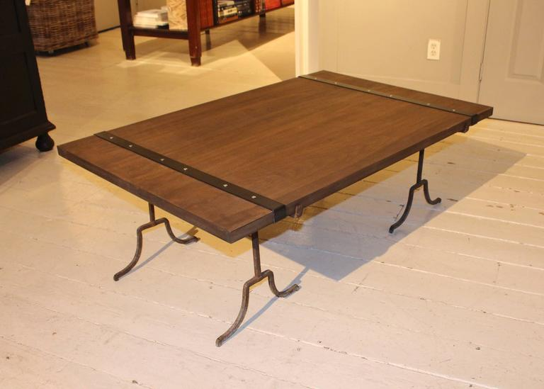 Blackened Wood Cocktail Table For Sale