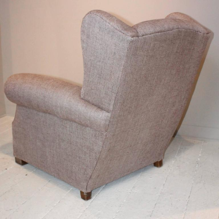 Pair of 1920s French Large Wingback Club Chairs For Sale 5