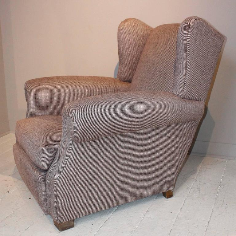 Pair of 1920s French Large Wingback Club Chairs For Sale 4