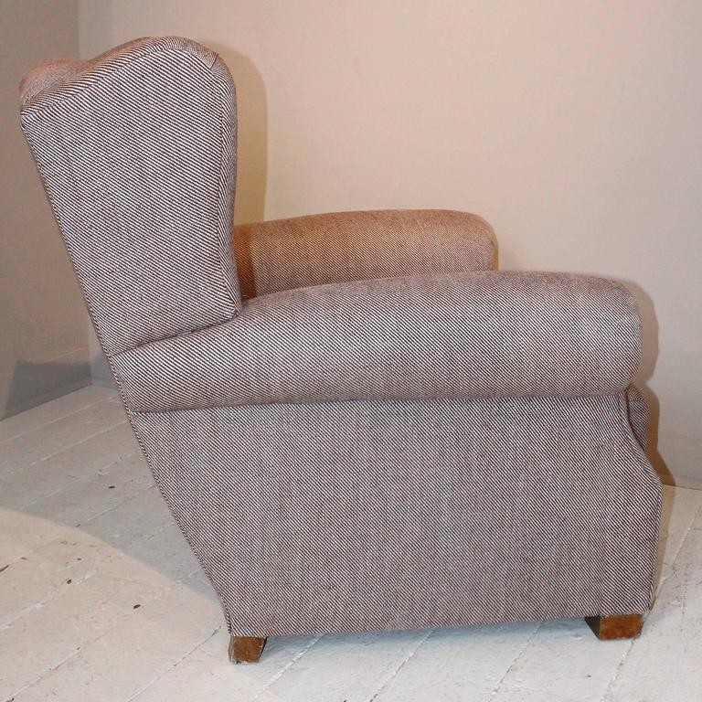 Pair of 1920s French Large Wingback Club Chairs For Sale 3