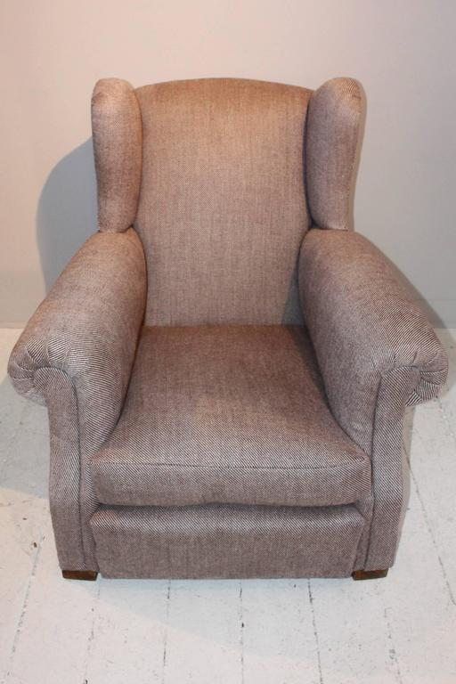 20th Century Pair of 1920s French Large Wingback Club Chairs For Sale