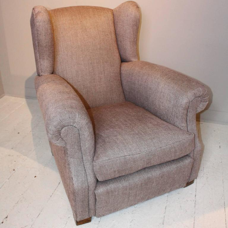 Pair of 1920s French Large Wingback Club Chairs For Sale 1