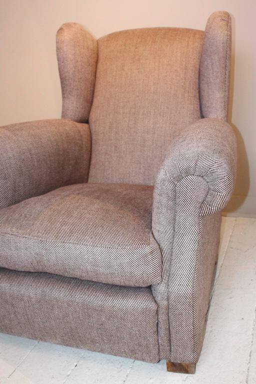 Pair of 1920s French Large Wingback Club Chairs For Sale 6
