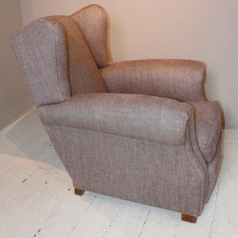 Pair of 1920s French Large Wingback Club Chairs For Sale 2