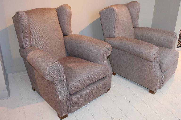 Pair of 1920s French Large Wingback Club Chairs In Good Condition For Sale In New Preston, CT