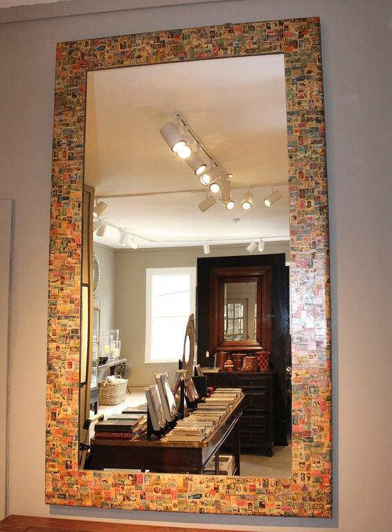 American 20th Century Postage Stamp Mirror For Sale