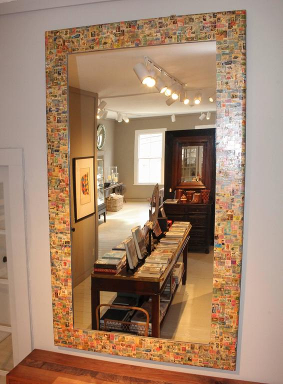 Découpage 20th Century Postage Stamp Mirror For Sale