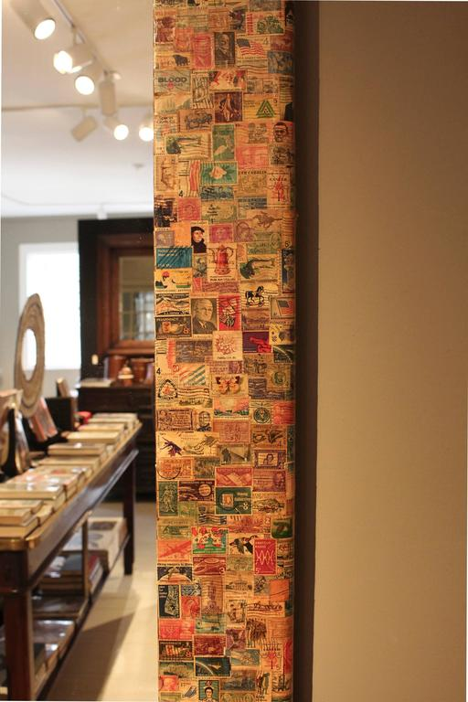 Wood 20th Century Postage Stamp Mirror For Sale