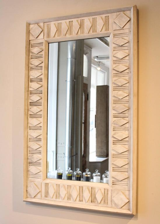 Architectural framed decorative mirror, 21st century, in reclaimed wood refreshed with oyster paint.