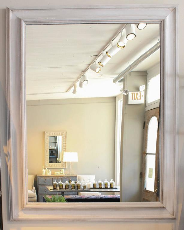 Large oyster painted 6-inch wide moulding fabricated into mirror, Italian, circa 1990s.