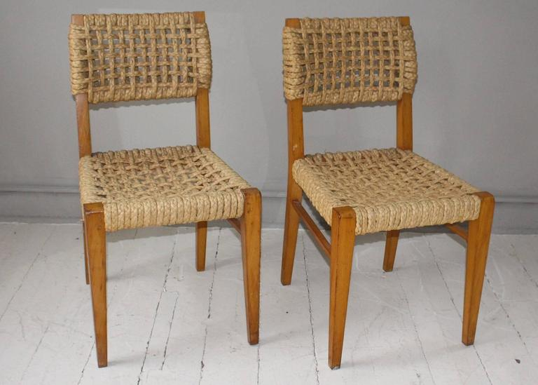 Pair of Vintage French Rope Side Chairs 2