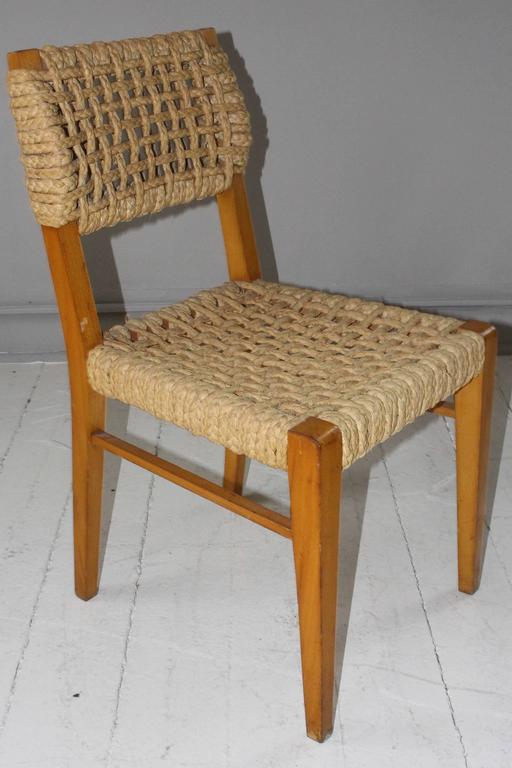 Pair of Vintage French Rope Side Chairs 4