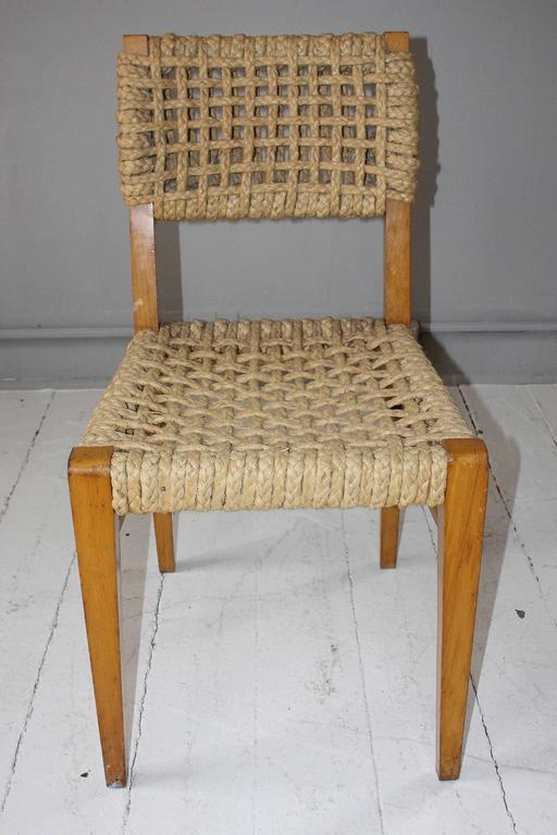 Superior Pair Of Vintage French Rope Side Chairs In Good Condition For Sale In New  Preston,