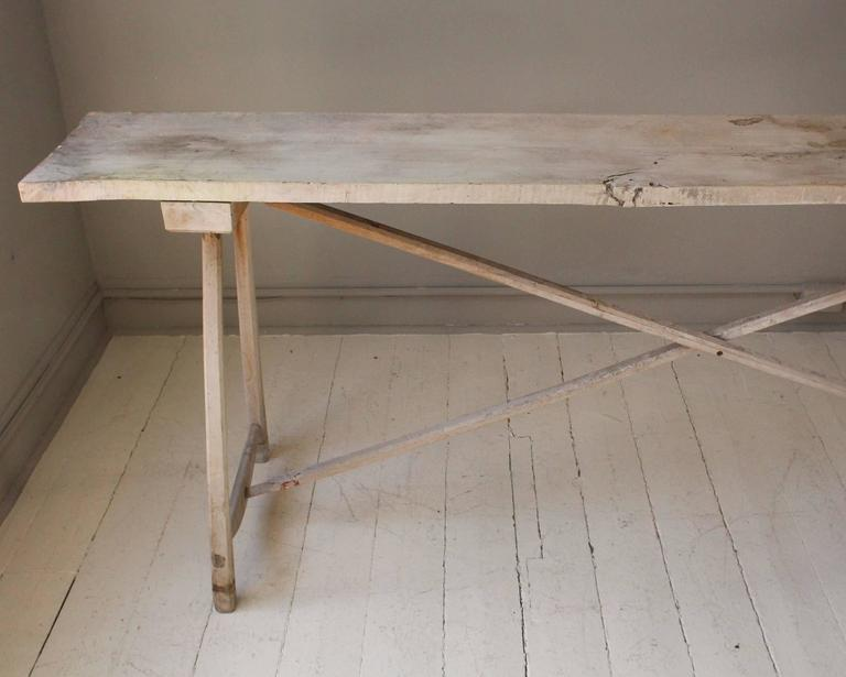 20th Century Belgian Vintage Bleached Console Table For Sale