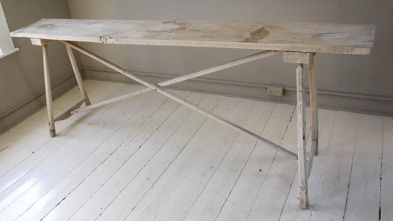 Belgian Vintage Bleached Console Table In Good Condition For Sale In New Preston, CT
