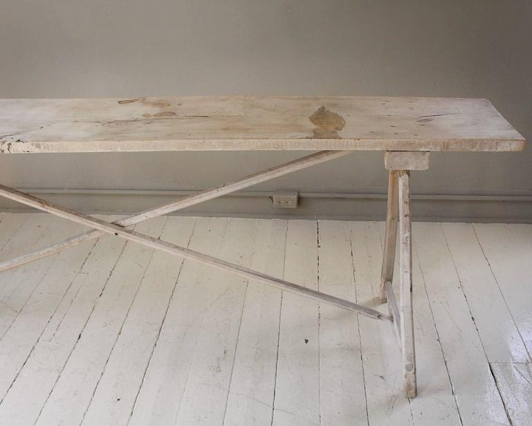 Belgian Vintage Bleached Console Table For Sale 1
