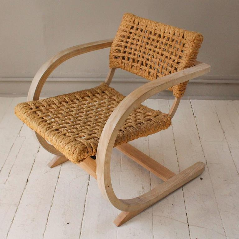 1950s French Pair of Similiar Raw Bentwood and Rope Chairs 3