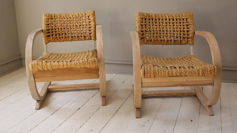 1950s French Pair of Similiar Raw Bentwood and Rope Chairs 2
