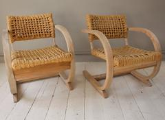 1950s French Pair of Similiar Raw Bentwood and Rope Chairs