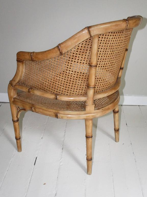 Pair of Vintage French Faux Bamboo Wood Chairs For Sale 2