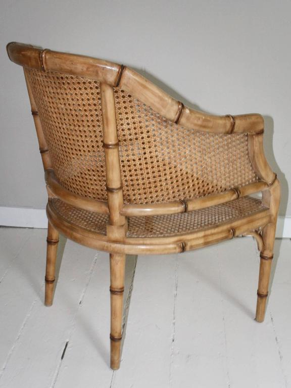 Pair of Vintage French Faux Bamboo Wood Chairs For Sale 4