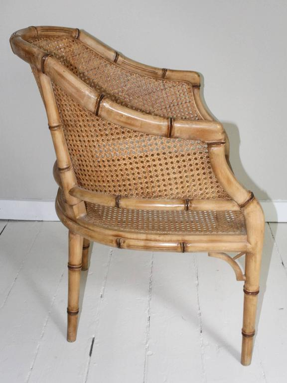 Pair of Vintage French Faux Bamboo Wood Chairs For Sale 3