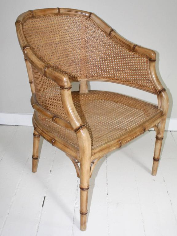 20th Century Pair of Vintage French Faux Bamboo Wood Chairs For Sale