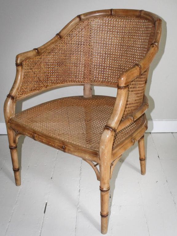 Pair of Vintage French Faux Bamboo Wood Chairs For Sale 1