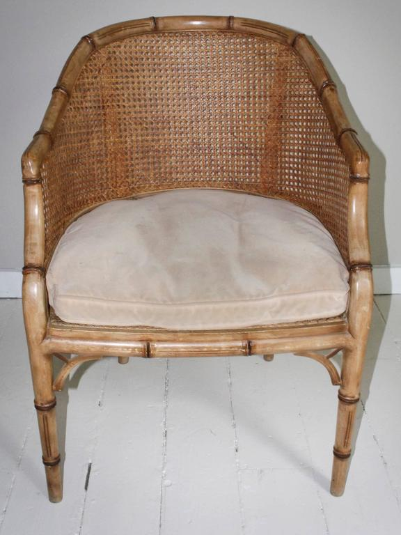 Pair of Vintage French Faux Bamboo Wood Chairs For Sale 5
