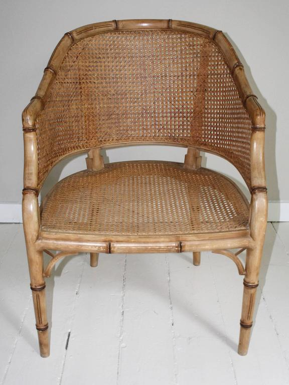 Pair of Vintage French Faux Bamboo Wood Chairs In Good Condition For Sale In New Preston, CT