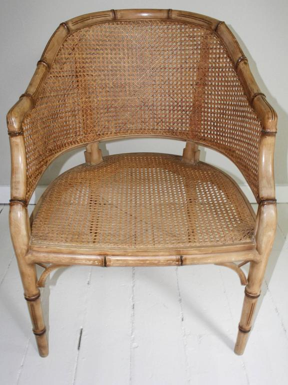 Pair of Vintage French Faux Bamboo Wood Chairs For Sale 6