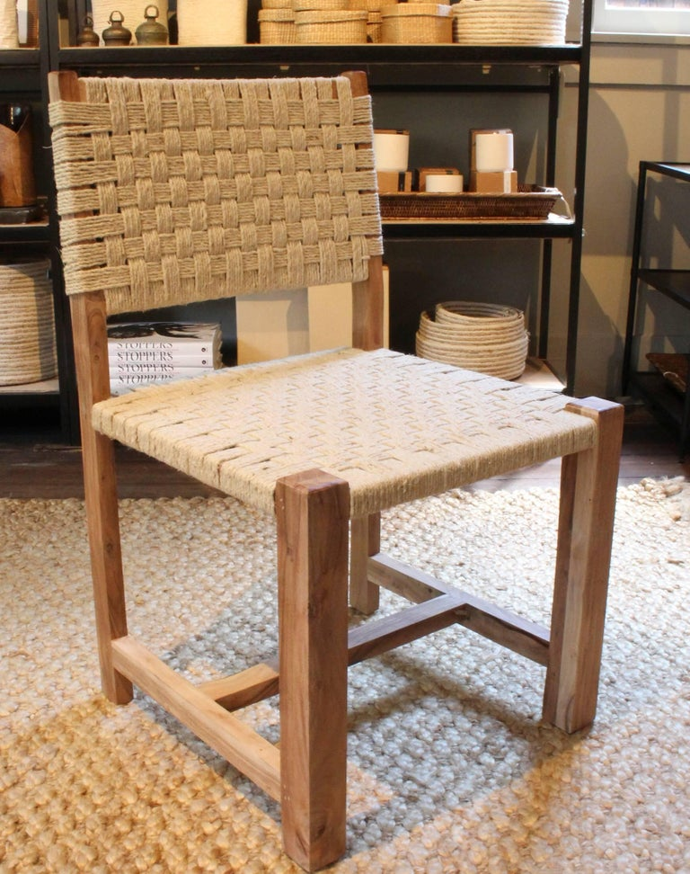 Set of Eight Woven Rope Side Chairs 6