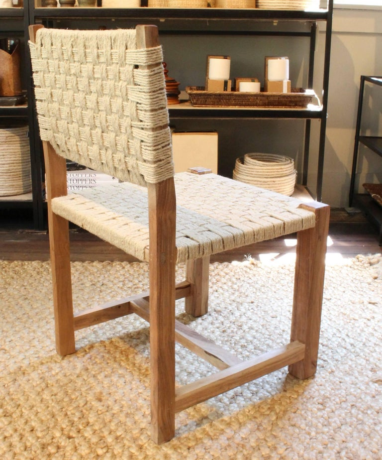 Set of Eight Woven Rope Side Chairs 5