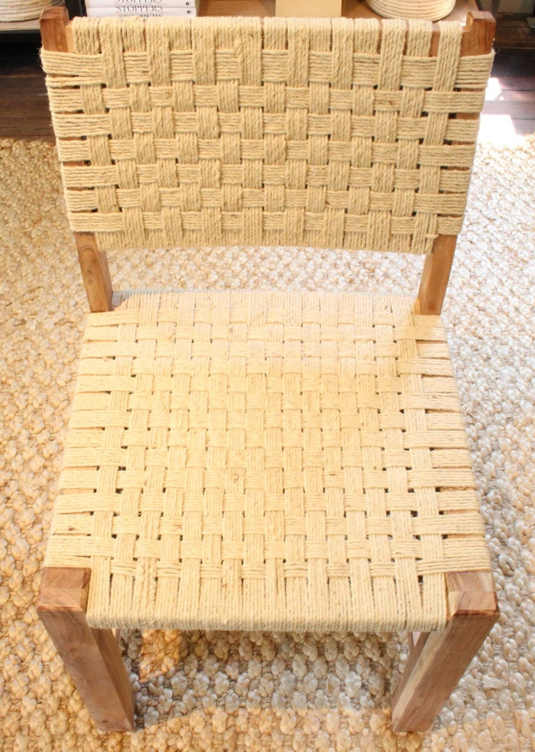 Set of Eight Woven Rope Side Chairs 7