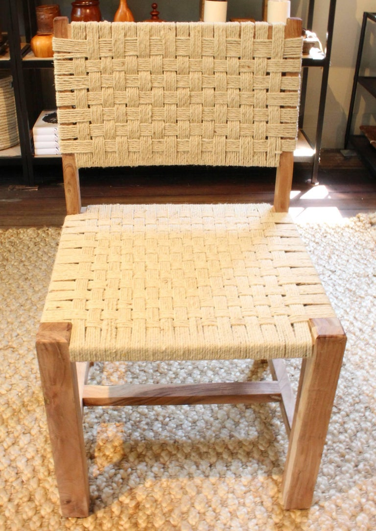 Set of Eight Woven Rope Side Chairs 8