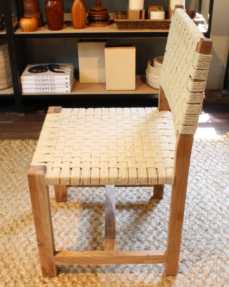 Set of Eight Woven Rope Side Chairs 3