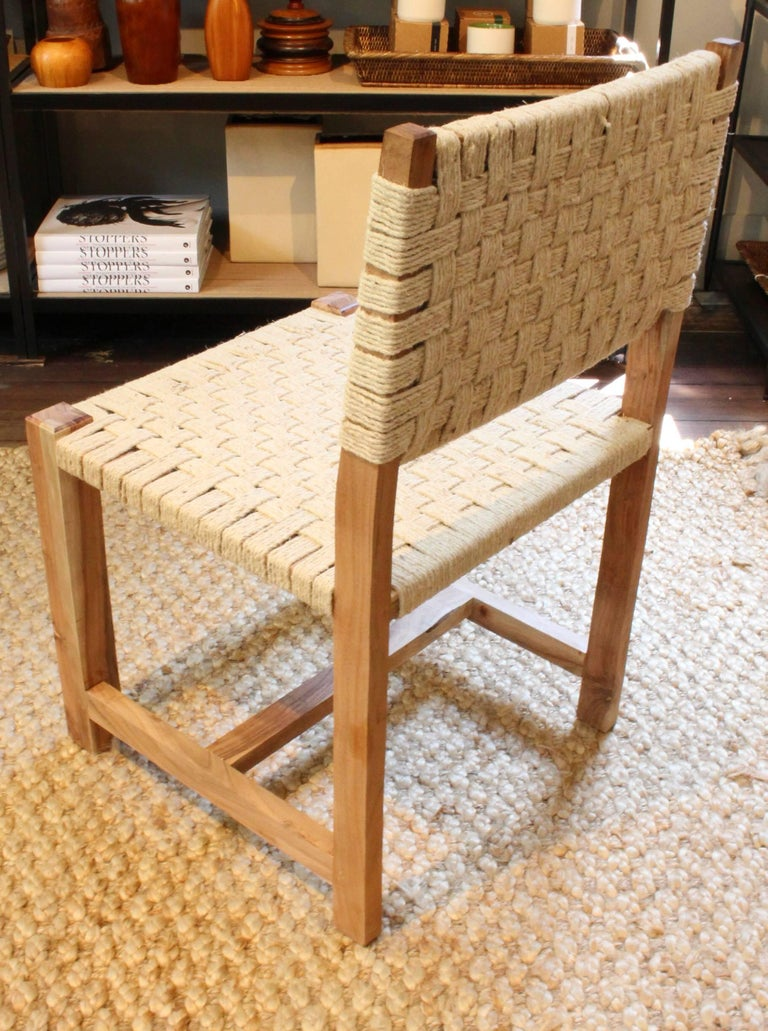 Set of Eight Woven Rope Side Chairs 4