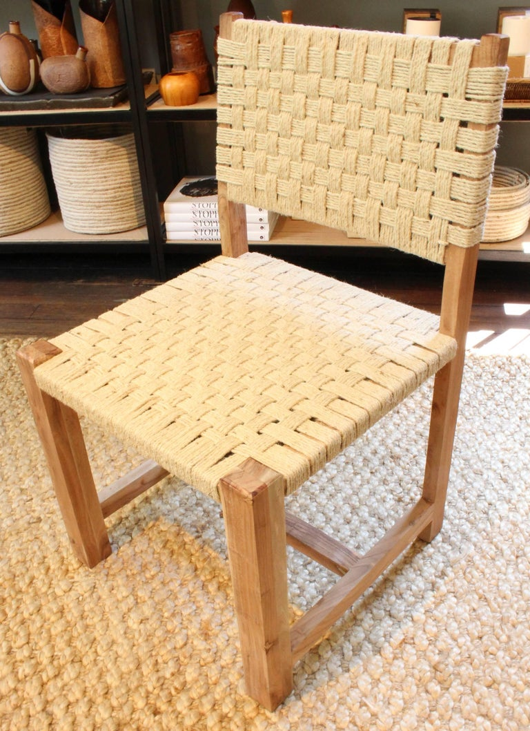 Set of Eight Woven Rope Side Chairs 2