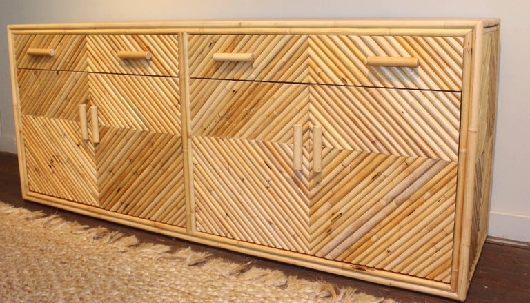 American Vintage Split Bamboo Sideboard Cabinet For Sale