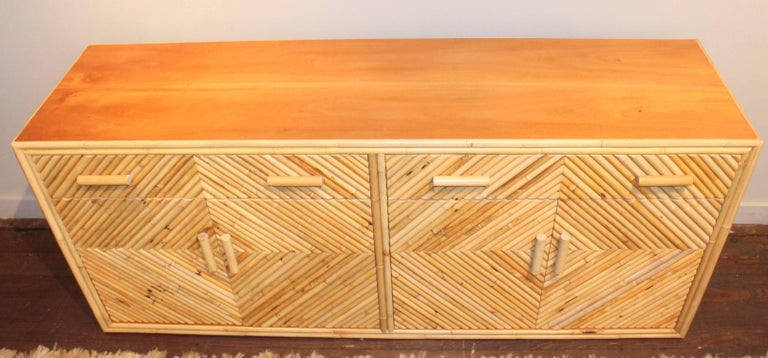 Vintage Split Bamboo Sideboard Cabinet For Sale 5