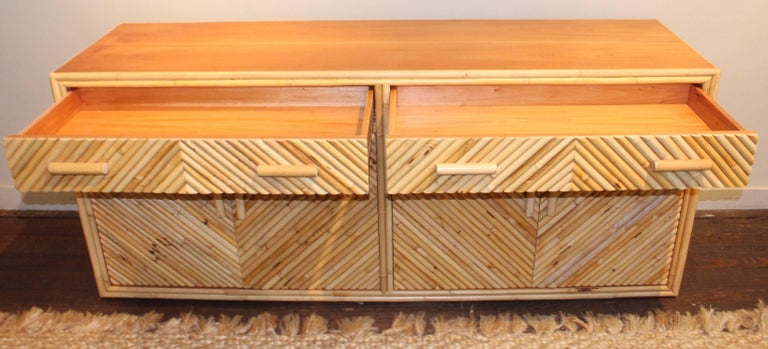 Split Bamboo Sideboard Cabinet, 20th Century For Sale 2
